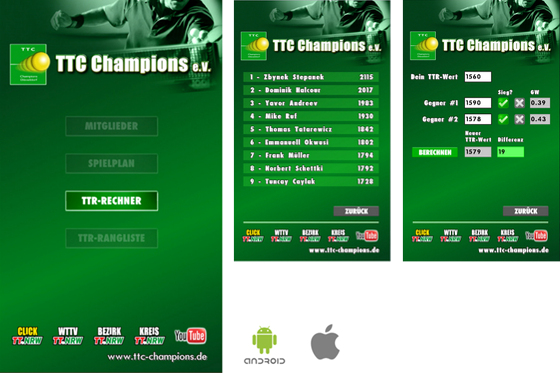 iOS/Android App Entwicklung – TTC Champions